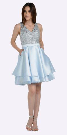 V-Neck Beaded Bodice Short Prom Dress with Pockets Light Pink f7d9e25193e8