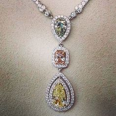 Don't let the dreary weather get you down. Just remember that gorgeous things like this exist in our world. Just in at The Summit: necklace with fancy yellow, blue and green Diamonds!!! #jewelry #diamonds #fancydiamonds #luxury #necklace #brombergssummit #brombergsjewelry repost @littlepearl50