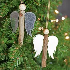 Craft cute angels with rustic style sticks - Christmas Crafts Diy Christmas Makes, Homemade Christmas, Christmas Angels, Rustic Christmas, Christmas Crafts, Christmas Ornaments, Christmas Ideas, Angel Crafts, Holiday Crafts