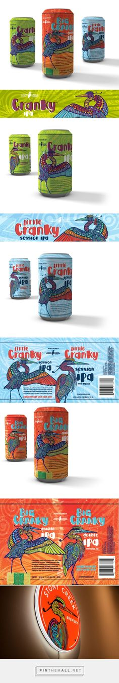 Stony Creek Brewery IPA Series Packaging on Behance by Ashley Marshall curated by Packaging Diva PD. Lisa Sotero's tattoo-inspired illustrations of the Stony Creek Brewery's mascot, the heron, turned into stunning new beer bottle labels.