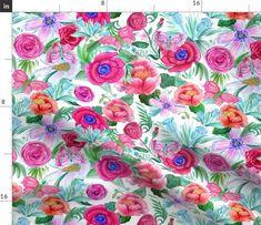 Double Gauze Fabric, Cotton Twill Fabric, Fleece Fabric, Watercolor Peony, Mask Making, Blue Bird, Poplin, Patience, Spoonflower