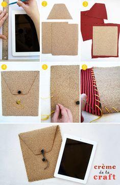 Crie você mesmo uma capa única para seu tablet usando cortiça e tecido.