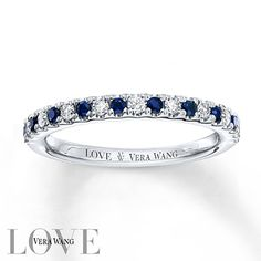 From the Vera Wang LOVE Collection, this 14K white gold wedding band features alternating round diamonds and brilliant sapphires, the traditional gemstone of faithfulness and unending love.