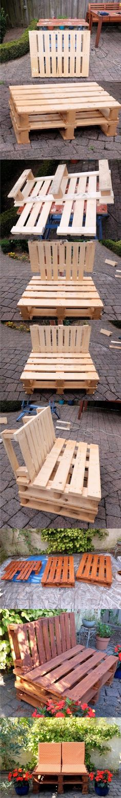 New Pallet Furniture Bench Outdoor Sofa Ideas Pallet Furniture Bench, Pallet Sofa, Pallet Crates, Wooden Pallets, Handmade Furniture, Diy Furniture, Wood Projects, Woodworking Projects, Palette Diy