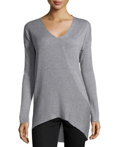 Crossover Ribbed Drop-Shoulder Tunic, Heather Gray by Neiman Marcus at Neiman Marcus Last Call.