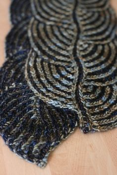 ...Hosta Brioche Scarf by Nancy Marchant, as knit by jen...