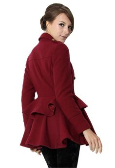 #Chicwish Double Breasted Peplum Wine Red Coat - Tops - Retro, Indie and Unique Fashion