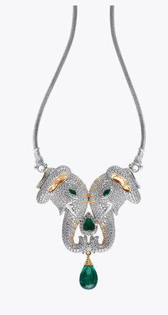 Fine jewelry / karen cox. diamond elephant emerald necklace