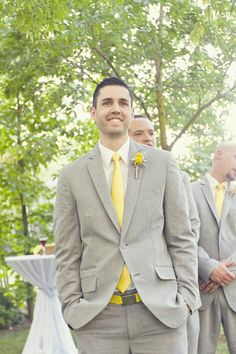I love the brighter yellow with the more laid back gey! A Pretty Modern-Rustic Yellow and Gray Wedding at The Grove