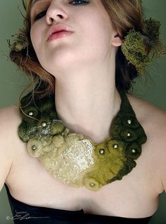 Felted Eco Fashion Collar DEEP FOREST  by TrendeFemme