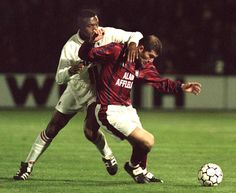 Marcel Desailly (AC Milan, 1993–1998, 137 apps, 5 goals) and Zinedine Zidane (FC Girondins de Bordeaux) during UEFA Cup Quarter-Final 2nd leg on 19 March 1996. Bordeaux vs AC Milan 3-0 (Tholot 14', Dugarry Goal 63', 69')
