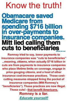 "THIS IS A LIE! First, medicare doesn't pay insurance companies, it pays PROVIDERS! Second, these cuts hurt hospitals, nursing facilities, and offices, which must in turn make cuts to staffing and services. Third, staffing cuts mean people don't get paid, and service cuts mean fewer people get HEALTHCARE! Forth, the money ""saved"" goes directly into the obamacare trainwreck to fund all the payouts, kickbacks and shoddy services, including INSURANCE COMPANIES!"