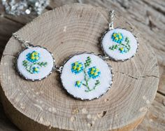 Embroidered floral necklace  Forgetmenot necklace  by skrynka, $34.00