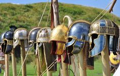 View of Wulfheodenas helm display at Old Sarum event.