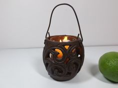 Cast iron filigree candle holder with handle and by HuntWithJoy,