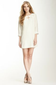 Silk Peek-A-Boo Shift Dress