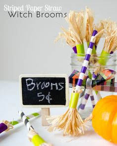 DIY Paper straw witch brooms. Cute Halloween drink stirrers or party favors.