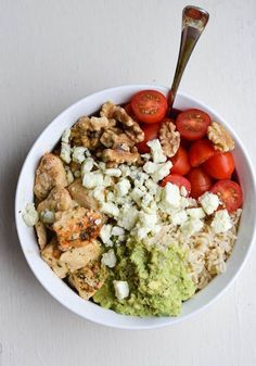 Too tired to cook? Replace chicken breast with store-bought rotisserie chicken for shortcut Chicken and Avocado Rice Bowls. | Rachel Shultz