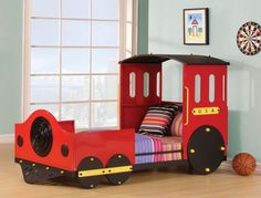tobi collection red and black finish wood childrens train set twin bed frame set - Boys Twin Bed Frame