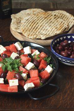 Watermelon Feta Salad plus Quick Flatbreads   Veggie Desserts