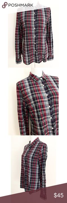 """Boy. Band of Outsiders Madras Plaid Button Shirt In rear pre-loved condition classic button Dow shirt from Boy. By Band of Outsiders in size 4, fits like small to medium. No missing buttons or flaws. Maude approximately about 27"""" length, 19.5"""" bust, almost 26"""" sleeves. ❌Last pic of model's similar style and is for visual aid only. Please refers to mannequin pics for shirt.❌No trades or modeling. Always open to reasonable offers. Bundle more items to save more. Thank you‼️ boy. by Band of…"""