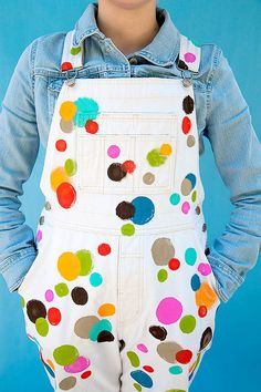 FolkArt Paint DIY Polka Dot Overalls from Handmade Charlotte {Come on...I had to PIN these!!..HA! ~ FUN! =^..^=}