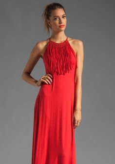 AKIKO Fringe Front Maxi Dress in Chile at Revolve Clothing - would be nice for an outdoor summer party