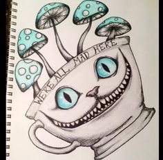 Tim burton's Alice in wonderland Cheshire Cat drawing by Mikayla Koski- designed for a tattoo design