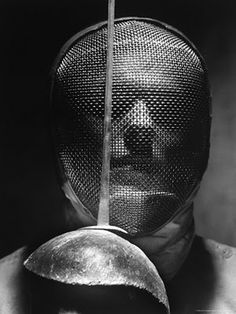 zoopat: Andreas Feininger: Portrait of Fencer Wearing Sabre Mask