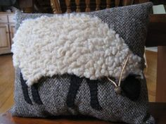 Primitive Wooly Grazing Sheep Pillow. $28 http://www.etsy.com/listing/91954447/primitive-wooly-grazing-sheep-pillow