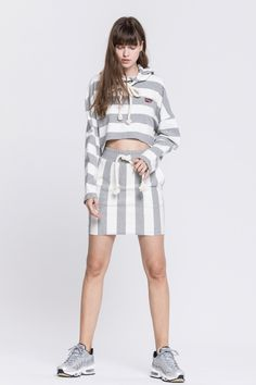 STRIPED FRENCH TERRY CROP SWEATSHIRT