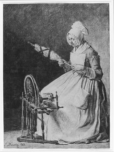 A Woman Spinning Flax. François Bonvin. French. 1861. Charcoal on laid paper.