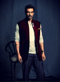 Arjun Rampal in henley neck tee, #waistcoat and stripe trousers  Courtesy: GQ #India #sartorial