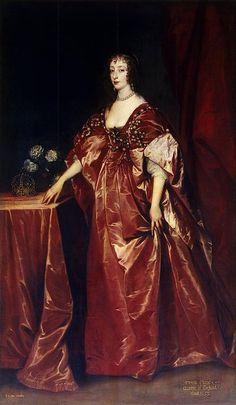 1638 Henrietta-Maria by Sir Anthony van Dyck (Hermitage) Anthony Van Dyck, Sir Anthony, Historical Costume, Historical Clothing, Roi Charles, King Charles, Mode Baroque, Henrietta Maria, House Of Stuart