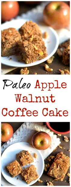 The perfect FALL treat!!! Deliciously moist apple walnut cake with a crumb topping. Gluten-Free, Paleo, and DELICIOUS!!