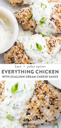 This Everything Bagel chicken with scallion cream cheese sauce is pure NYC bagel heaven! Chicken breasts are coated in Everything But the Bagel seasoning and baked to perfection then smothered in a delicious scallion cream cheese sauce. Keto and low carb with paleo and dairy free options. #keto #chicken #lowcarb #dinner