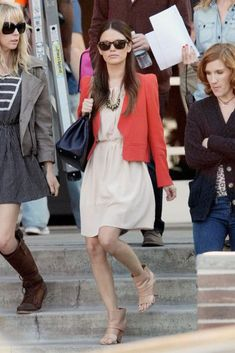 b3539d1bd5 How chic is Rachel Bilson in her flowing beige dress and tailored coral  jacket  So chic! And of course she s carrying Chanel…le sigh
