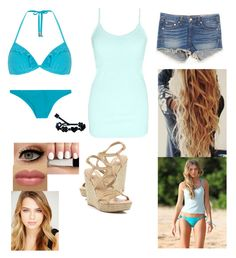 """Indiana Evans Blue Lagoon"" by elelovelife ❤ liked on Polyvore featuring rag & bone, Dorothy Perkins, Mikoh, BKE, Cruciani and River Island"