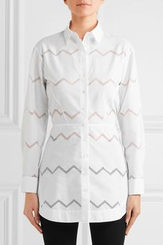 Alaïa - Laser-cut Cotton-blend Shirt - White - FR