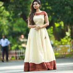 Innovative Ideas to make long gown dresses from o ld saree - Kurti Blouse Lehenga Designs, Kurta Designs, Blouse Designs, Frock Fashion, Indian Fashion Dresses, Indian Gowns Dresses, Indian Long Dress, Long Dress Design, Dress Neck Designs