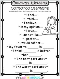 Opinion Writing Second Grade, Opinion Writing Prompts, First Grade Writing, Writing Prompts For Kids, Paragraph Writing, Persuasive Writing, Writing Lessons, Writing Skills, Writing Rubrics