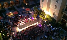 Here's an aerial view of an event that took place on our terrace that included functional and fashion stage lighting.