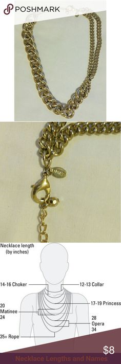 """Gold Tone Assymetrical Gold Tone Chain Necklace Unusual design with a smaller double chain on one side which attaches to a much heavier link chain prior to the mid point of the necklace for a pleasingly assymetrical,look. Gold Tone metal in good condition, it is 19"""" in length.  Cross listed. This item is included in the 5 for $15 sale. Express Jewelry Necklaces"""
