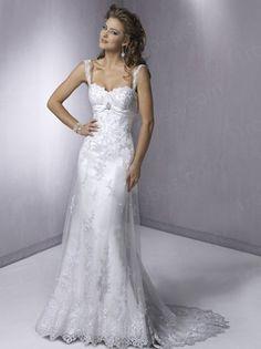 Sheath/Column Strap Chapel train Tulle White Wedding Dresses #USARS008