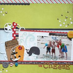 Layout using the Down by the Shore collection that is available at Scrapbook Paradise! Scrapbook Pages, Scrapbooking Ideas, Scrapbook Layouts, Page Maps, Vacation Scrapbook, Picture Layouts, Fancy Pants, One Pic, Projects To Try