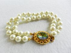 Vintage Italian 1960 - Art Deco beautiful and elegant high quality ,2-wire bracelet with pearls-Jewelry for Bridal--Art.980-