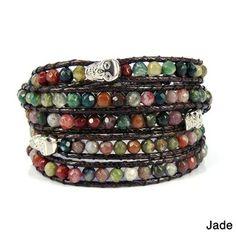 Punk Trio Skull Mix Stones Five Wrap Bracelet (Thailand) | Overstock.com Shopping - Great Deals on Bracelets