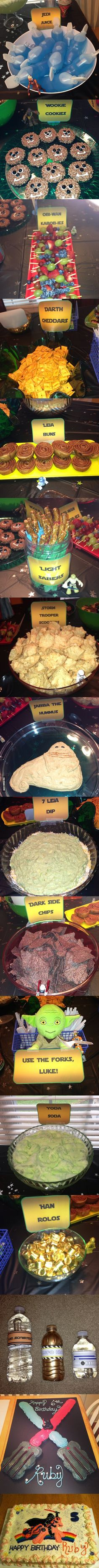 A Star Wars themed birthday party. I'm not a huge fan of Star Wars, but this is the coolest thing ever Star Wars Party, Bd Star Wars, Tema Star Wars, Star Wars Bb8, Star Wars Food, Star Wars Birthday, Boy Birthday, Birthday Ideas, Cake Birthday