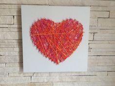 Quadro coração lã