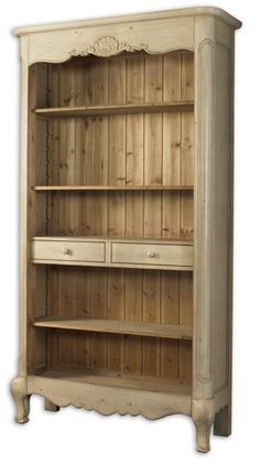 Shabby French Country Chic Beige Washed Wood Sylvianne Hutch Bookshelf Display | eBay